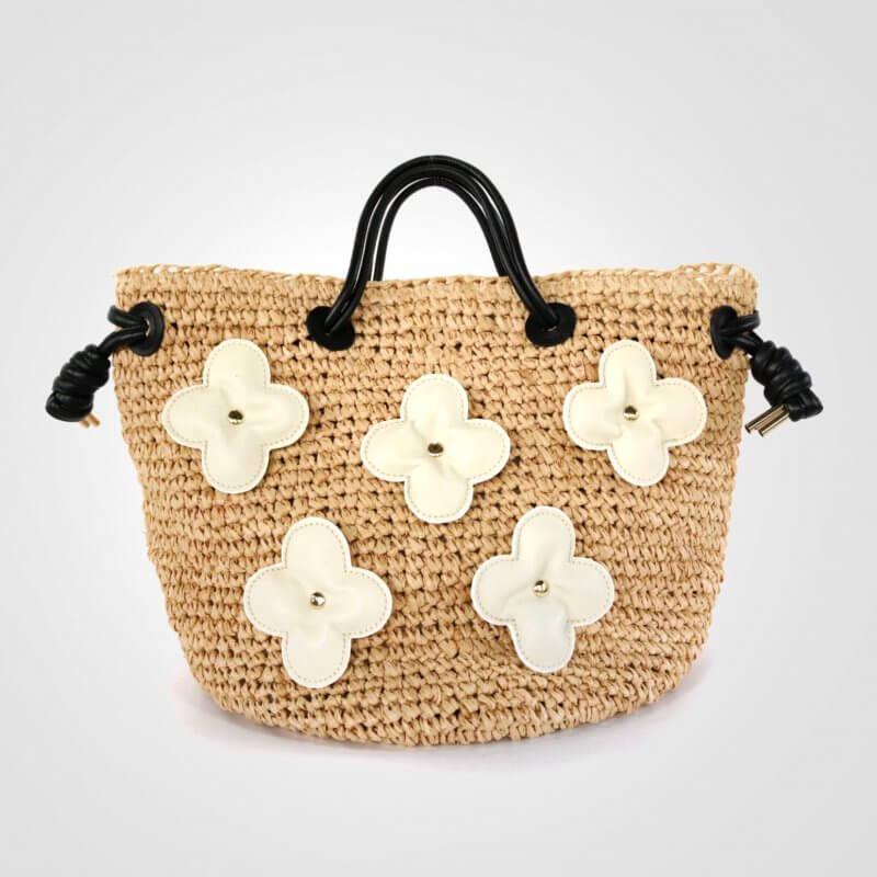 COHAKU アジサイ カゴバッグ/ ベージュ/ホワイト(お花)
